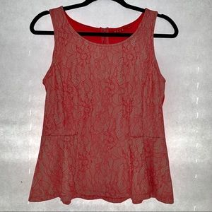 Elle Coral & Cream Flare Sleeveless Tank